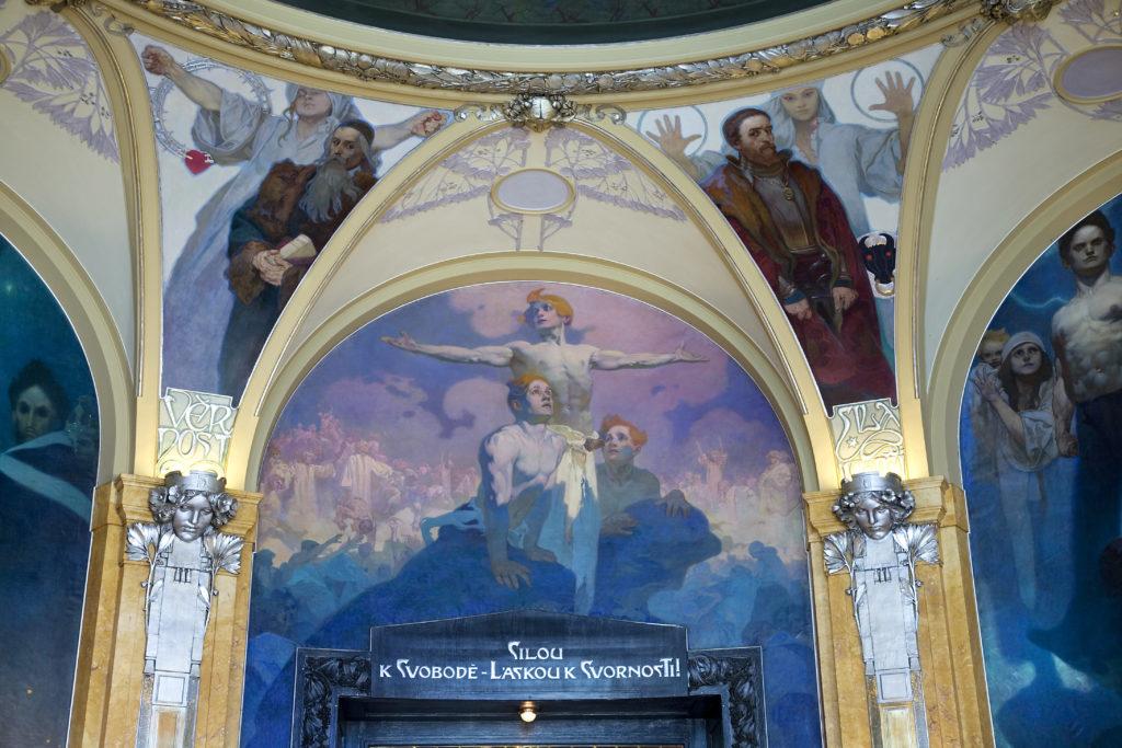 תקרת בית העירייה בפראג - יצירה של אלפונס מוכה