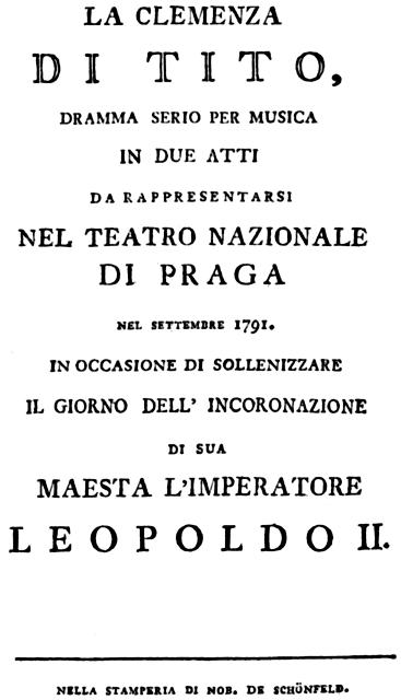 """התוכניה המקורית לפרמיירה של האופרה """"חסדו של טיטוס"""""""