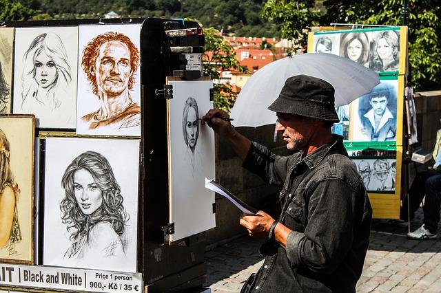 אמן רחוב בגשר קארל